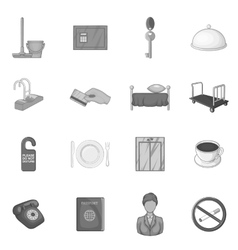 Hotel icons set in black monochrome style vector image