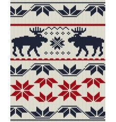 Knitted background with Christmas deers and vector image vector image