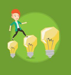 business woman jumping on light bulbs vector image vector image