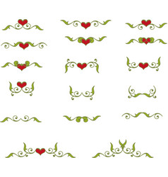 floral heart elements vector image vector image