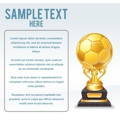 Golden Soccer Cup Ready for Your Text vector image vector image
