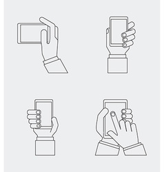 hand on device vector image vector image