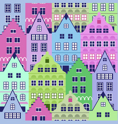 seamless pattern with old houses vector image