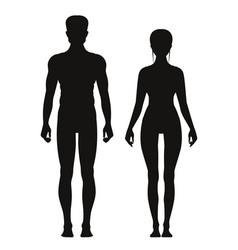 silhouette of sporty male and female standing vector image vector image