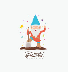 gnome fantastic character with shovel and colorful vector image vector image