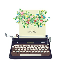Love you card with typewriter and flower - vector image