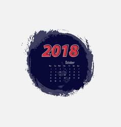 october 2018 calendar templates vector image