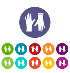protective gloves set icons vector image