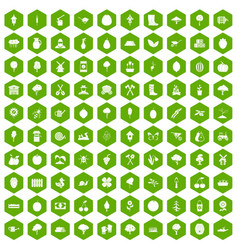 100 agriculture icons hexagon green vector