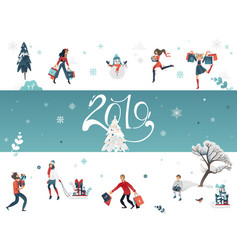 2019 new year and christmas vector image