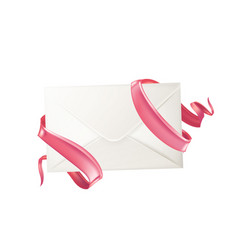 3d envelope ribbon valentine day card vector