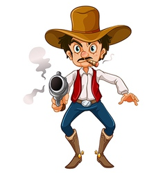 A man with a cigar and a gun vector