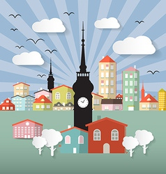 Abstract Paper Cut Flat Design Town or City vector image