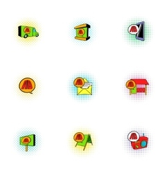 Ads icons set pop-art style vector