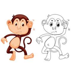 Animal outline for little monkey vector