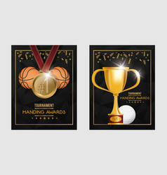 basketball and golf sports trophy and medals vector image