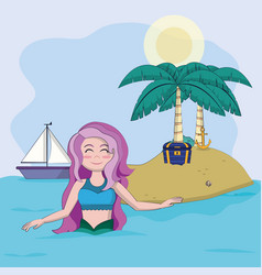 beautiful and magic mermaid cartoon vector image
