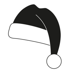 Black and white christmas hat silhouette vector
