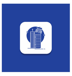 blue round button for building smart city vector image