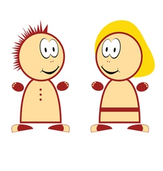 boy and girl funny vector image
