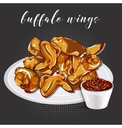 Buffalo wings and barbecue sauce on a grey vector image