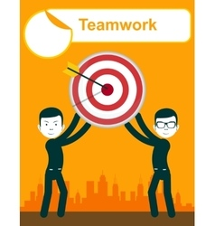Business people holding target with arrow vector