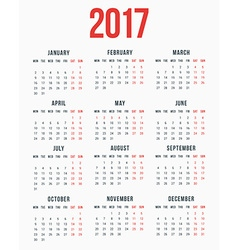Calendar for 2017 year on white background week vector