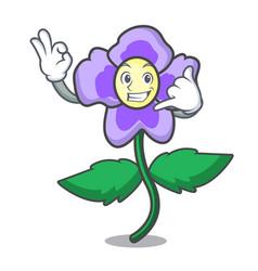 Call me pansy flower mascot cartoon vector