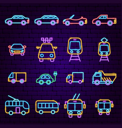 car transport neon icons vector image