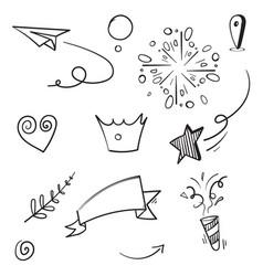 Cartoon hand drawn set elements for concept vector