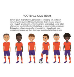 Cartoon school football soccer kids team in vector