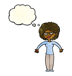 cartoon woman shrugging shoulders with thought vector image