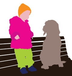Child with dog vector