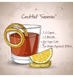 Classic sazerac cocktail vector