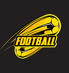 Color logo template with soccer ball on black vector