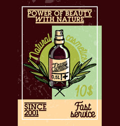 color vintage natural cosmetics banner vector image