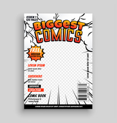 Comic cover template design layout vector