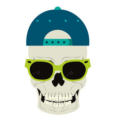 cool skull with sunglasses and hat cartoon vector image