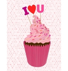 Cupcake with letters vector image
