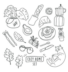 cute outline set hygge vector image