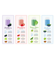 Different smoothie recipes labels flat style vector