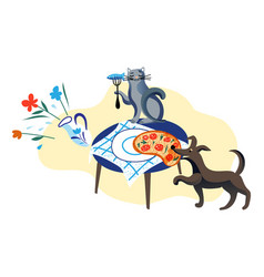 Dog stealing pizza from table and cat eating fish vector