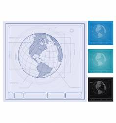 Earth blueprint vector