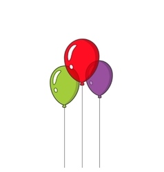 Festive balloons flying isolated on white vector image