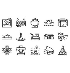 Fish farm icons set outline style vector