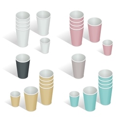 Flat 3d isometric Paper cup vector