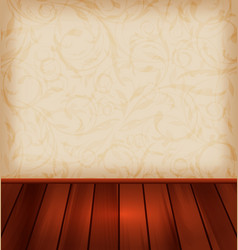 Floral wallpaper and wooden floor vector