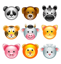 Funny animal faces icons set vector