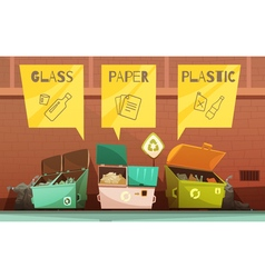 Garbage Waste Sorting Cartoon Icons Set vector