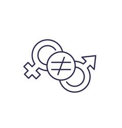 Gender inequality line icon vector